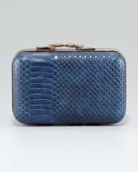 House Of Harlow 1960 Marley Snake Embossed Clutch Midnight - Lyst