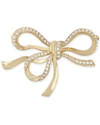 Carolee Goldtone Glass 40th Anniversary Bow Pin - Metallic