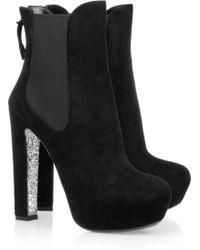 Miu Miu Glittersoled Suede Ankle Boots black - Lyst