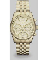 Michael Kors Lexington Round Goldtone Stainless Steel Chronograph Bracelet Watch - Lyst