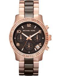 Michael Kors Espresso Ceramic and Rose Golden Stainless Steel Runway Chronograph Glitz Watch - Lyst