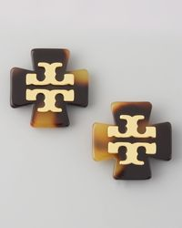 Tory Burch Clover Logo Earrings Brown - Lyst