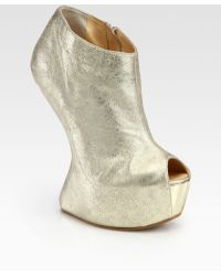 Giuseppe Zanotti Metallic Leather Curvedwedge Platform Ankle Boots - Lyst