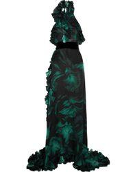 Gucci Ruffled Printed Silk-chiffon Gown - Lyst