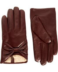 Love Asos Leather Bow Gloves - Purple