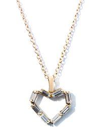 Matchstick - Diamond & Rose-Gold Heart Necklace - Lyst