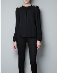 Zara Top with Appliqué On The Shoulder black - Lyst