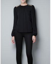 Zara Top with Appliqué On The Shoulder black - Lyst