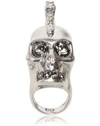 Alexander McQueen Punk Skull with Swarovski Ring silver - Lyst
