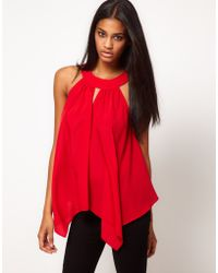 ASOS Collection Asos Top with Drape Sides and Cutout Detail - Lyst
