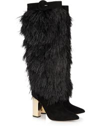Nicholas Kirkwood Rabbitlined Feather and Suede Boots - Lyst