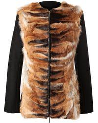 The Row Collarless Felt Wool and Fur Jacket black - Lyst