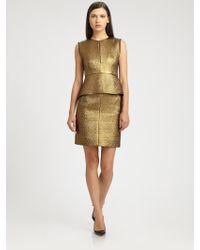 Diane von Furstenberg Delian Metallic Peplum Dress - Lyst