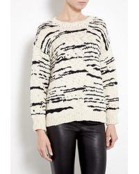 IRO Cream and Black Merino Knitted Jumper - Lyst