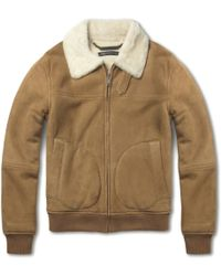 Marc By Marc Jacobs Contrast-Panel Shearling Bomber Jacket - Lyst