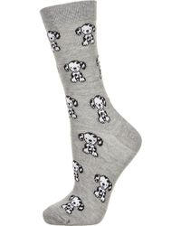Topshop Grey Dalmation Ankle Socks - Lyst