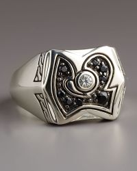 John Hardy Batu Meteorite Black Sapphire Ring In White For