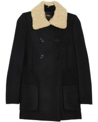 Maje Stylo Shearling Collared Wool and Cashmere-Blend Coat blue - Lyst