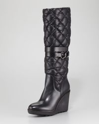 Moncler - Cernobbio Quilted Leather Wedge Boot - Lyst