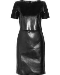 Saint Laurent Leather Dress black - Lyst