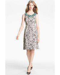Lela Rose Embellished Neck Sheath Dress - Lyst