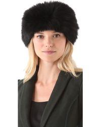 Rachel Zoe Fox Fur Head Wrap - Black