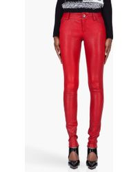 Alice + Olivia Skinny Red Leather Pants - Lyst