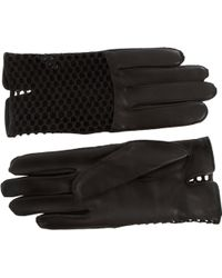 Nina Ricci Leather with Mesh Short Gloves - Lyst