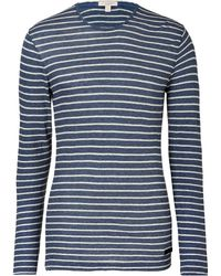 Burberry Brit - True Navy Heather Striped Cottonwool Tshirt - Lyst