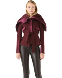Peter Som - Felted Wool Jacket with Faux Fur Collar - Lyst