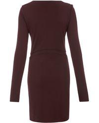 T By Alexander Wang Mesh Insert Long Sleeve Jersey Dress - Red