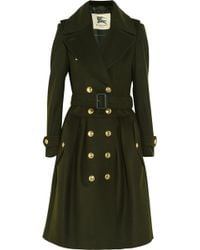 Burberry Wool and Cashmere Blend Trench Coat green - Lyst