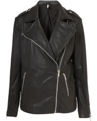 Topshop Oversized Leather Biker Jacket - Lyst