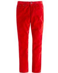 J.Crew Toothpick Ankle Jean in Velvet red - Lyst
