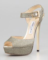 Jimmy Choo Linda Glittered Platform Sandal - Lyst