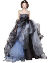 Oscar de la Renta Bicolor Tulle Strapless Gown - Lyst