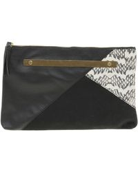 Asos Suede Patchwork Metal Bar Clutch - Lyst