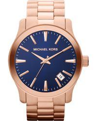 Michael Kors Oversize Rose Golden Stainless Steel Runway Threehand Watch - Lyst