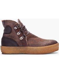 Moncler Espresso Raw Sheepskin Nevada Shoes - Brown