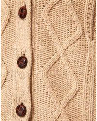 NW3 by Hobbs Nw3 Arran Cardigan with Leather Buttons - Natural