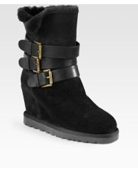 Ash Yes Suede Leather Wedge Boots - Lyst