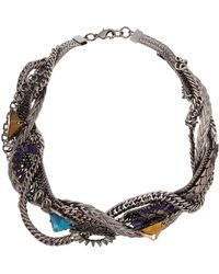 Fenton | Gunmetal Thick Twisted Necklace | Lyst