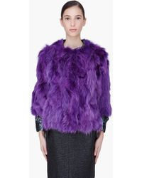Marc Jacobs Purple Fluffy Fox Fur Jacket purple - Lyst
