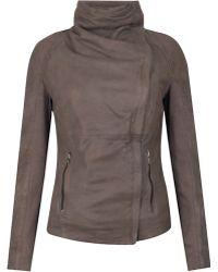 Muubaa -  Lenexa Cowl Neck Leather Jacket  - Lyst