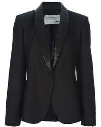 Saint Laurent Leather Lapel Blazer black - Lyst