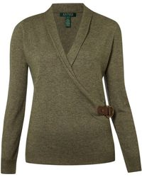 Lauren by Ralph Lauren - Mayda Long Sleeve Vneck Wrap Cardigan - Lyst