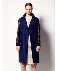 Sophie Hulme   Bluenavy Leather Sleeve Wool Trench Coat By Sophie Hulme   Lyst