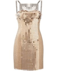 Versace Chain-Mail And Silk-Satin Mini Dress - Lyst
