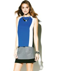 Vince Camuto Colorblock Mixed Media Shell - Lyst