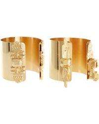 Asos Superhero Double Cuffs gold - Lyst